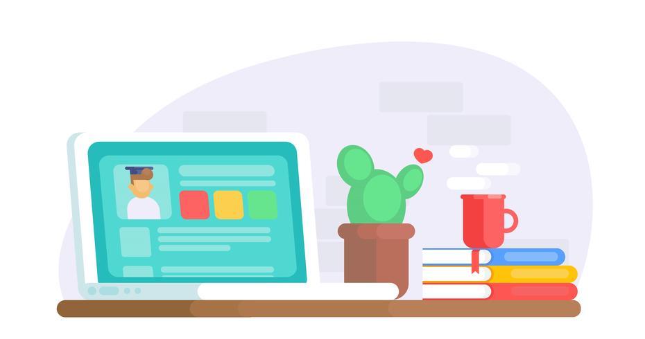 Bannière d'éducation en ligne. Bureau d'ordinateur avec ordinateur portable, cactus, café, utilisateur de fenêtre. Illustration de plat Vector