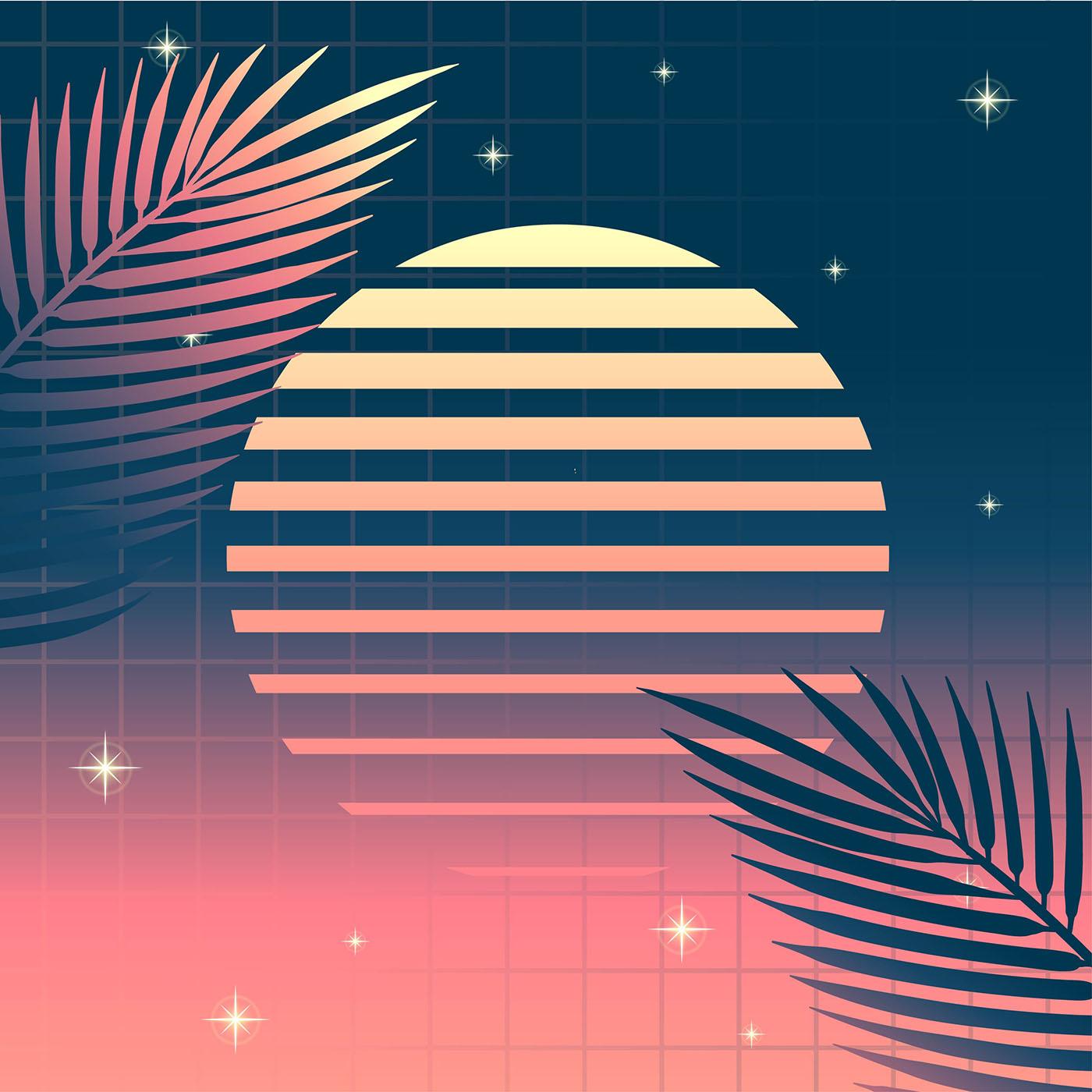 Retro Background Vaporwave Tropical Leaves Sun Download