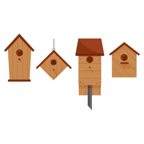 Bruine houten nestkastjes in verschillende vormen