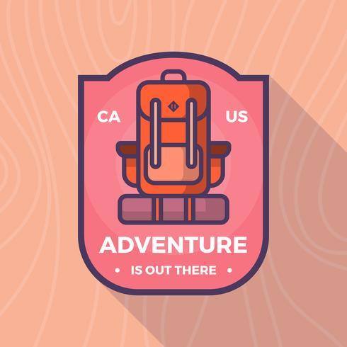 Mochila plana portador aventura emblema vetor logotipo modelo
