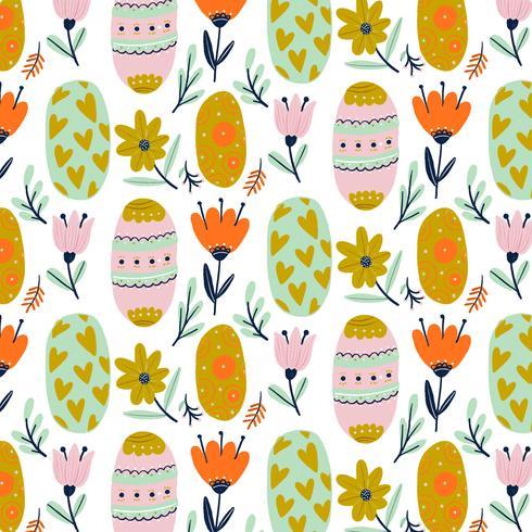 Modello carino con uova di Pasqua ornamentali con fiori e foglie