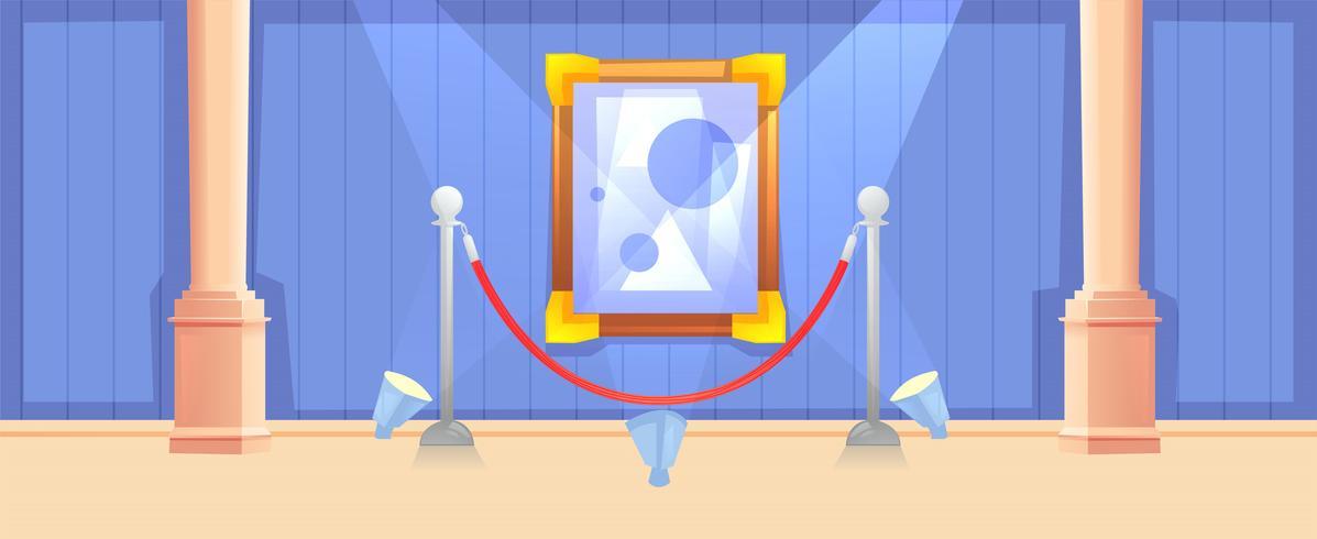 Image dans le cadre dans la bannière horizontale de la galerie. Design de musée intérieur moderne. Concept d'art de peinture. Illustration de dessin animé de vecteur
