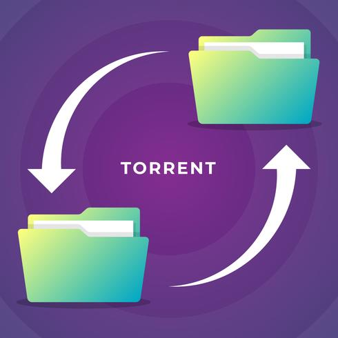 Dos ilustraciones de conceptos de uso compartido de documentos transferidos de carpetas Torrent