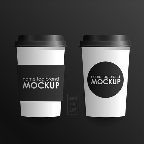 Conjunto de modelo de design de identidade corporativa. Xícara de café de mock-up. Conceito reailistic do vetor