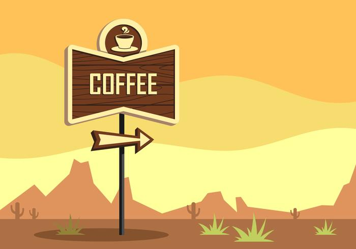 Coffee Retro Sign Vector