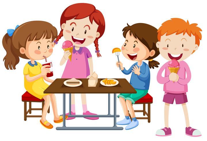 Set Kinder zusammen essen