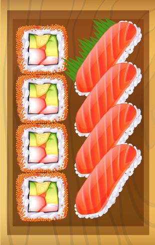 Eine Draufsicht auf die verschiedenen Varianten von Sushi am Tisch vektor