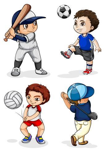 Männliche Kinder, die an verschiedenen Aktivitäten teilnehmen