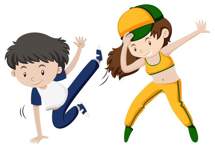 Hombre y mujer haciendo baile hiphop