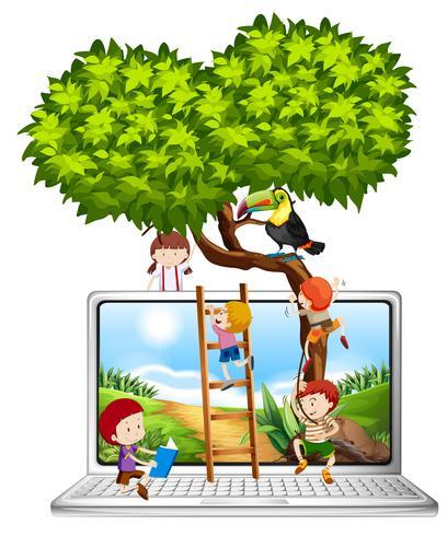 Crianças, escalando, árvore, computador, tela