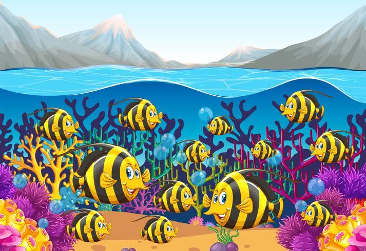 Scena con pesci che nuotano sotto il mare