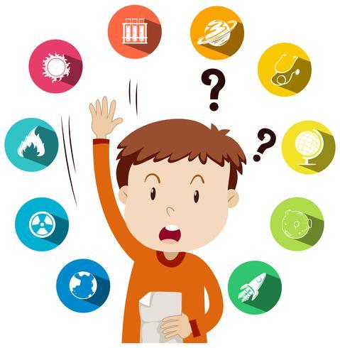 Jongen die vragen over schoolwerk stelt
