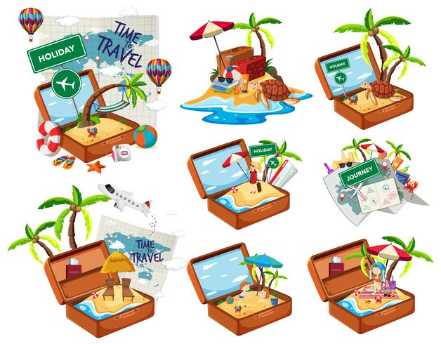Set of beach in the travel luggage vector