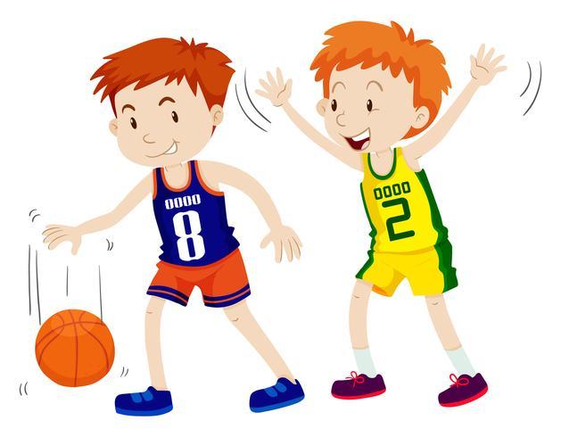 Due ragazzi che giocano a basket