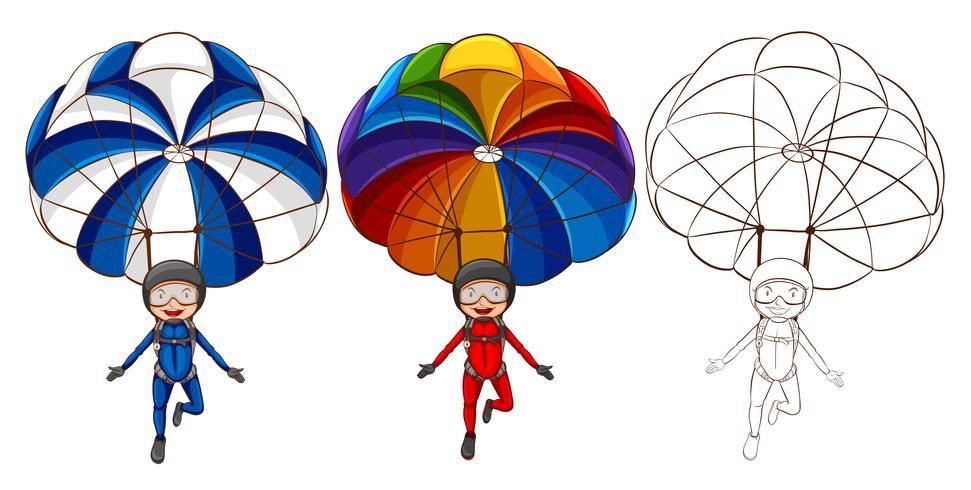 Tre stili di disegno del paracadute dell'uomo