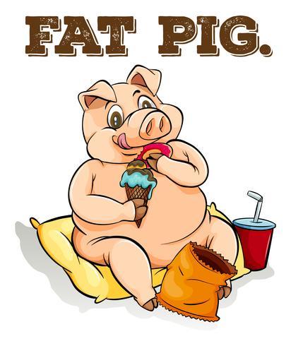 Cerdo gordo comiendo helado