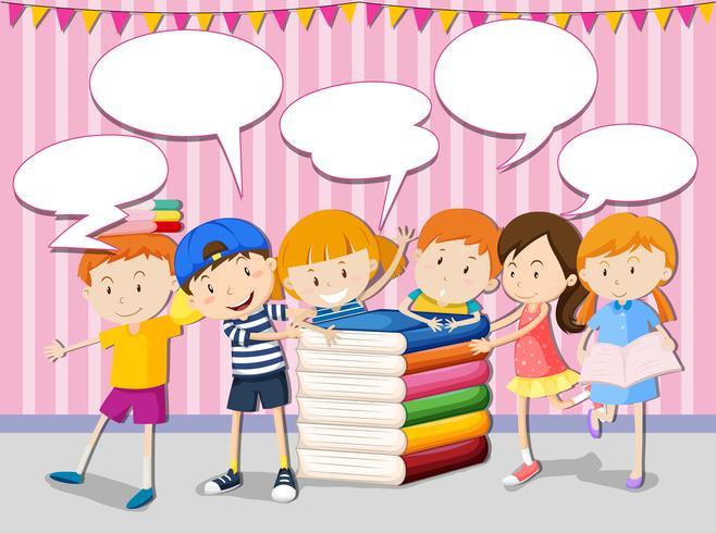 Kinderen met boeken en tekstballonnen
