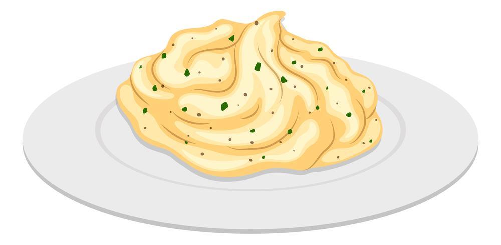 Mash potatis på rund platta
