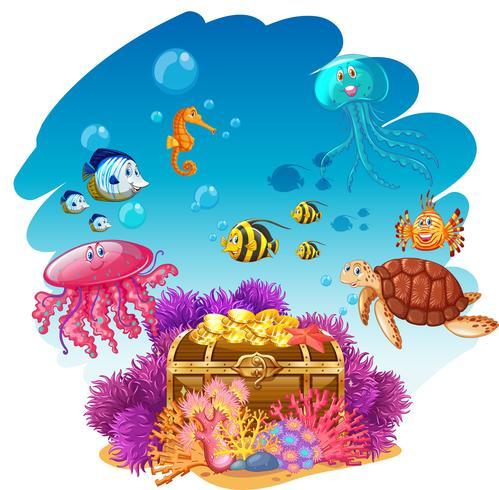 Sköta bröst och havsdjur under vatten