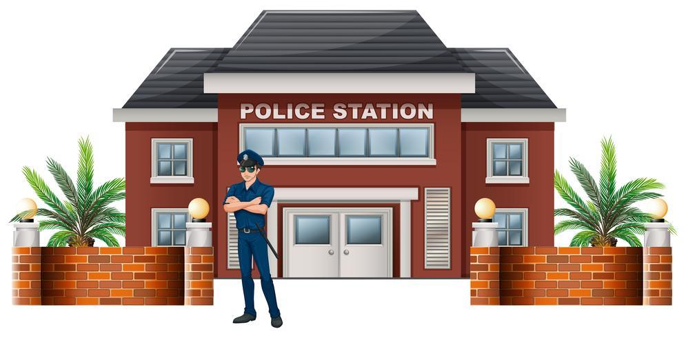 Un policier devant le commissariat