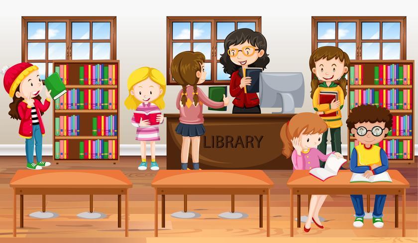Crianças, leitura, livros, em, biblioteca