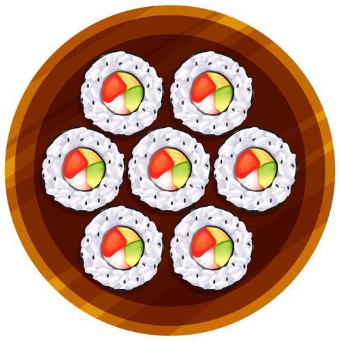 Eine Draufsicht auf das Sushi am Tisch vektor