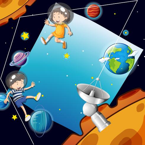Plantilla de fondo con niños en el espacio