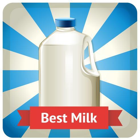 Bottiglia per il latte con testo