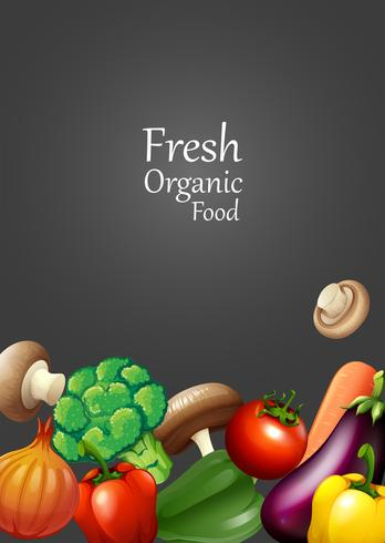 Muchas verduras y texto de diseño.