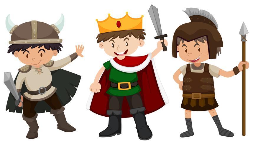 Pojkar i soldat och prins outfit