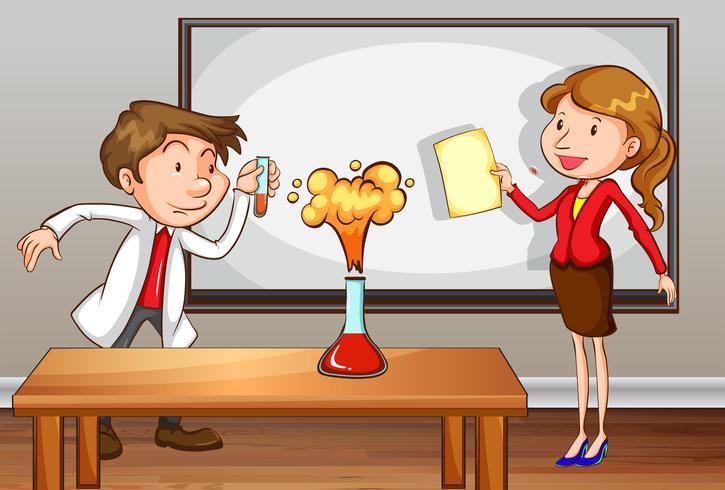 Professores fazendo experimento de laboratório em sala de aula