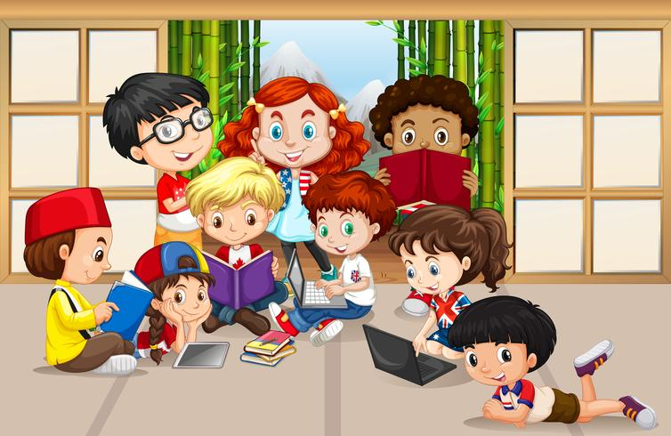 Veel kinderen lezen en werken op de computer