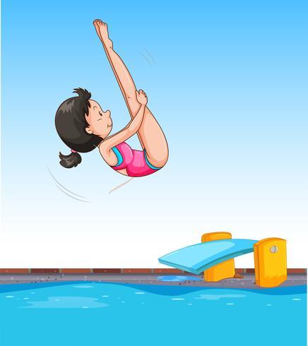 Mädchen tauchen in pool