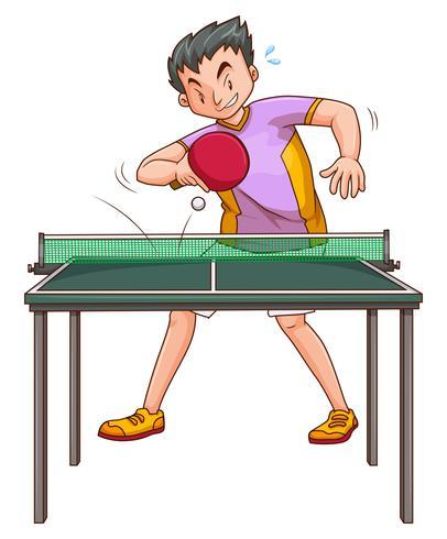 Jugador de pingpong jugando en la mesa