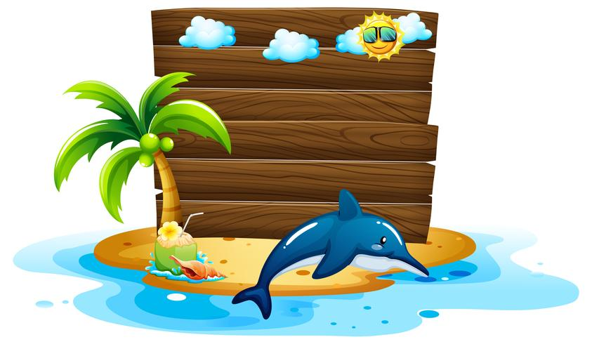 Board template with dolphin in ocean