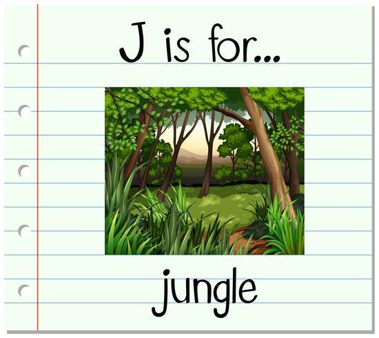 La letra J de la Flashcard es para la selva. vector