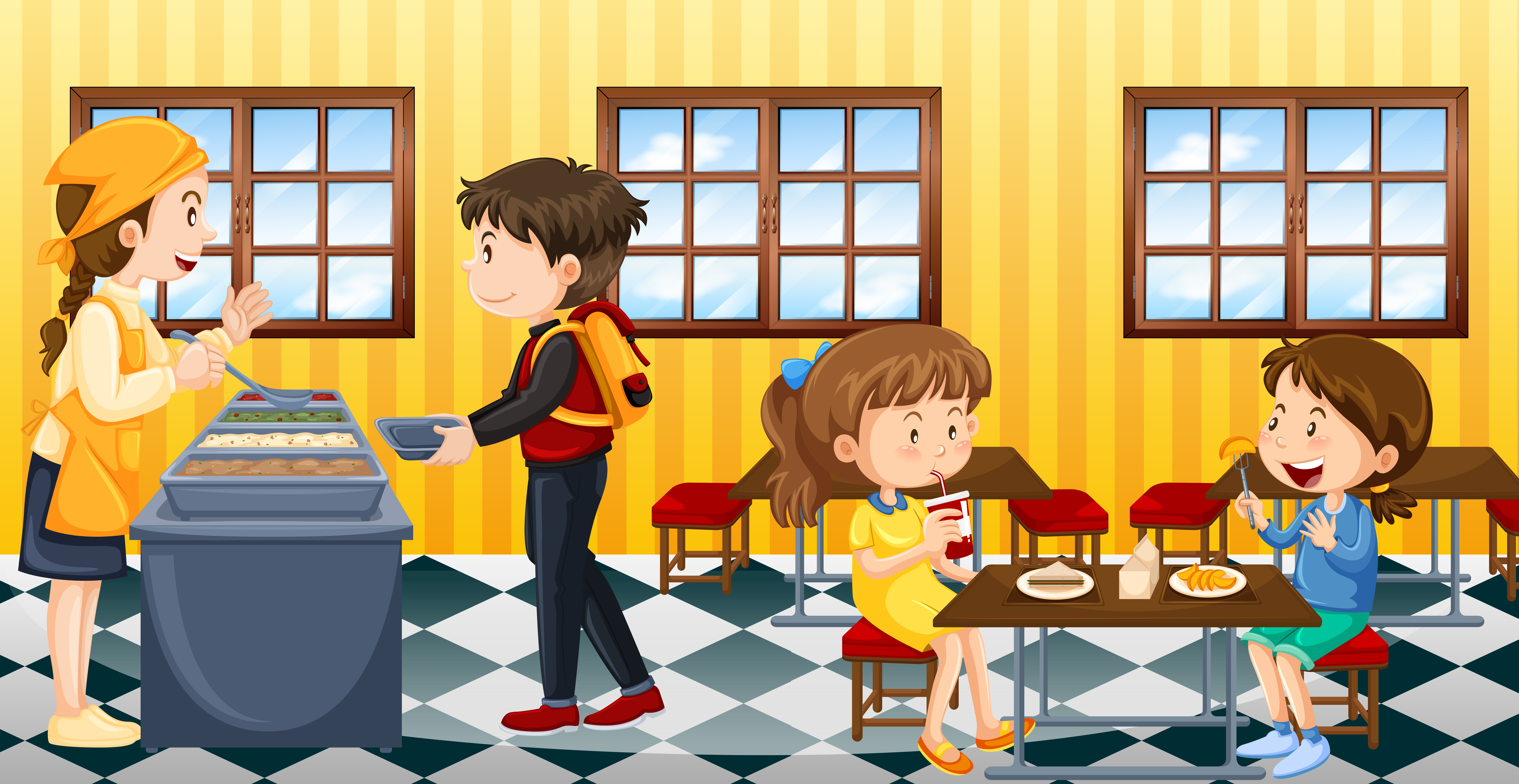 Scene with people eating in canteen - Download Free ...