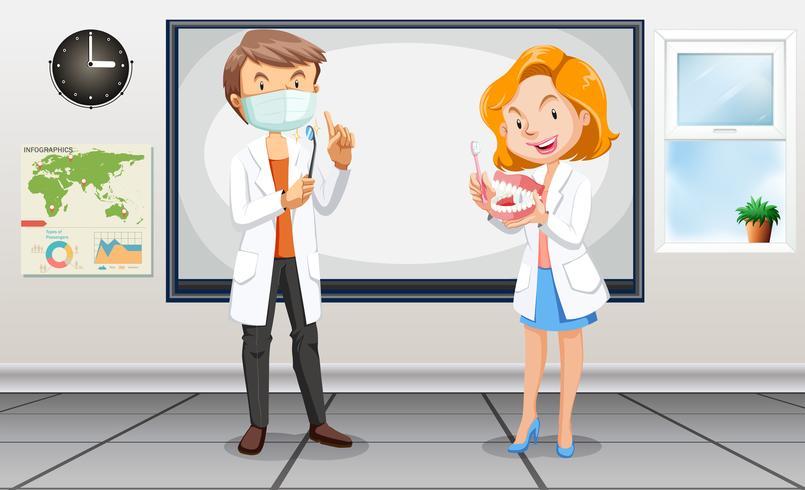 Dentistes hommes et femmes avec des outils