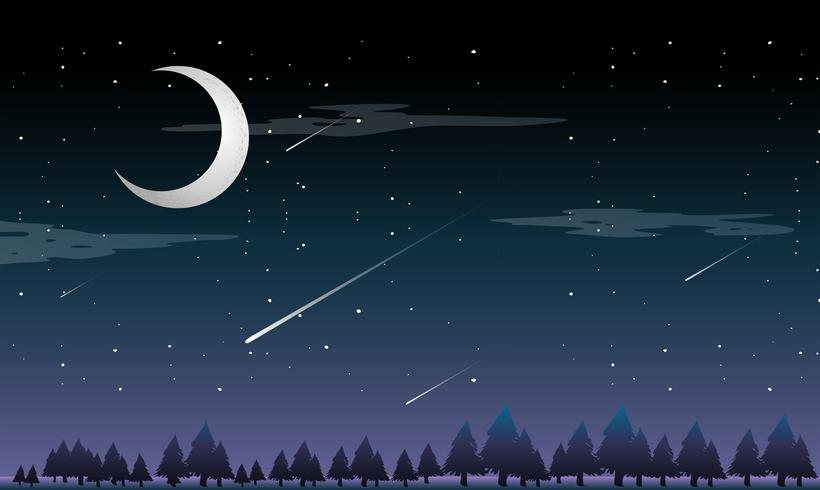 A shooting star at night