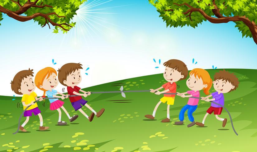 Meninos meninas, tocando, puxão guerra