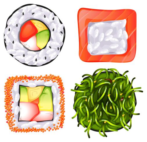 Topview av de olika japanska matarna