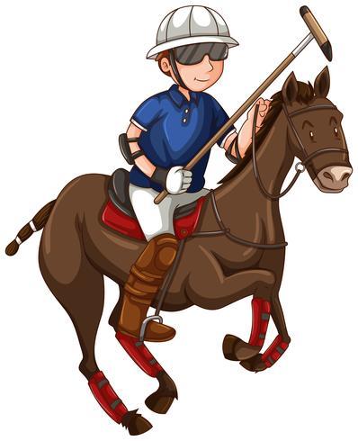 Mann auf dem Pferd, das Polo spielt