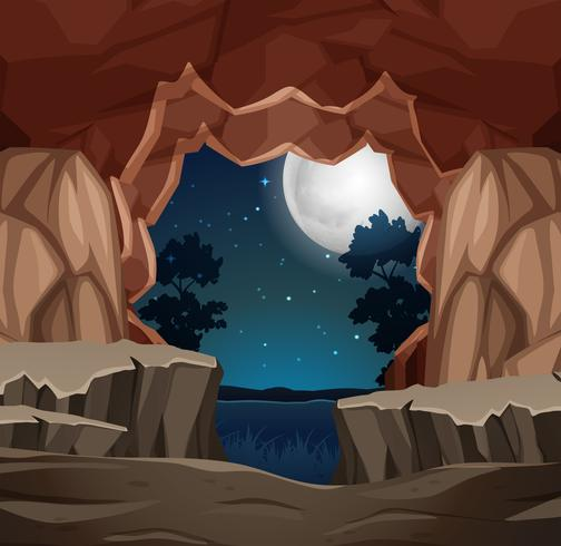 Entrada a la escena nocturna de la cueva.