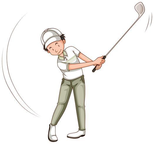 Man spelar golf med golfklubb