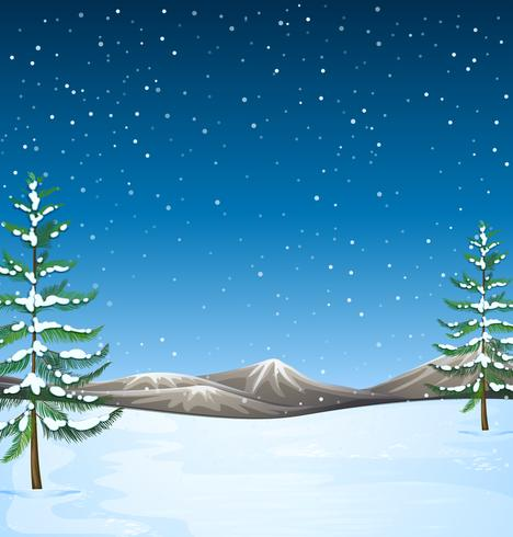 Nature scene with snow falling at night