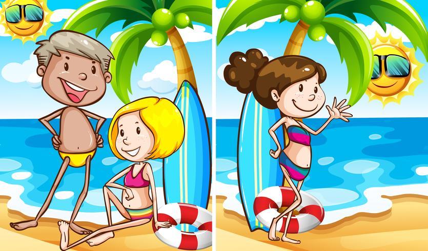 Duas cenas de pessoas na praia