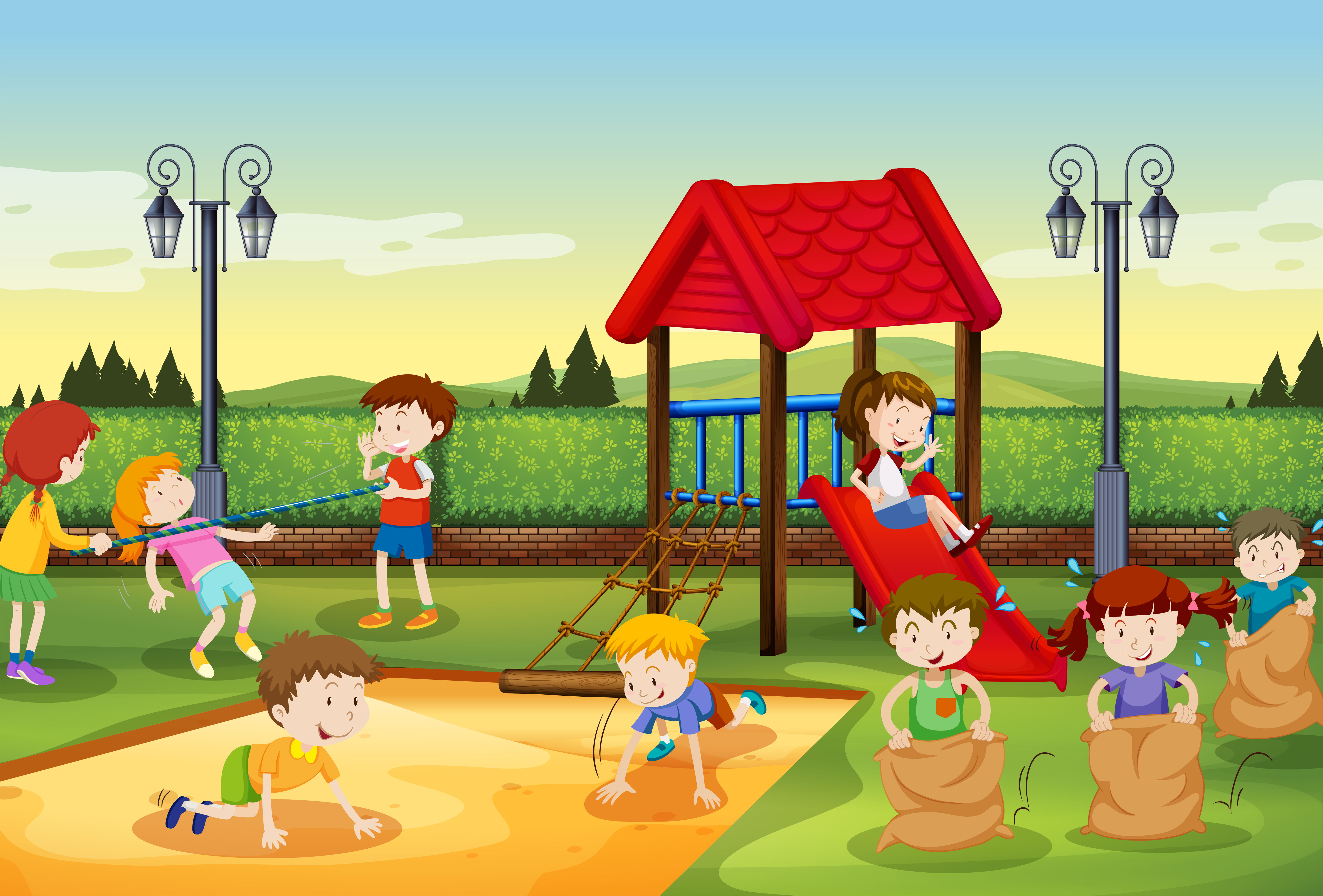 Children playing in the playground - Download Free Vector ...