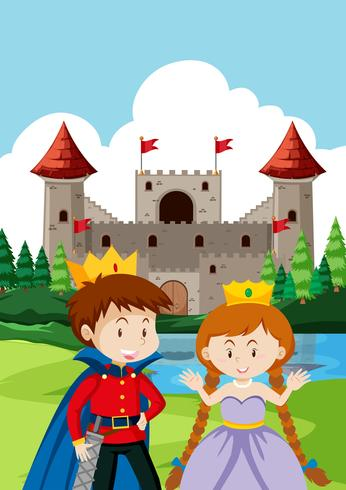 Prince and princes at the castle vector