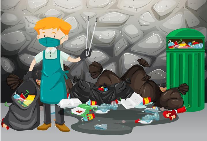 Limpador de limpeza de lixo no chão