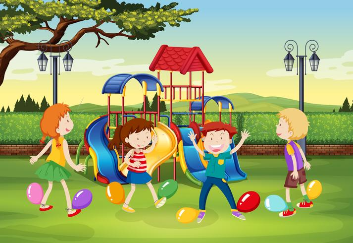 Children playing balloon popping in the park